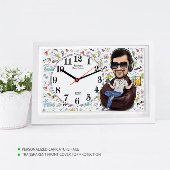 Caricature Wall Clock - Guy on Bean Bag