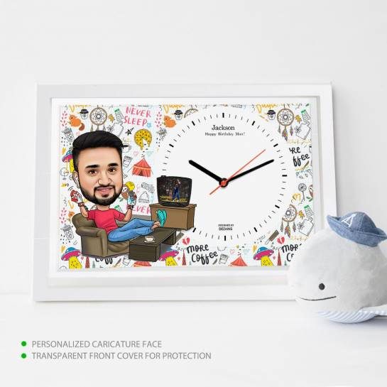 Caricature Wall Clock - Chilled out Guy