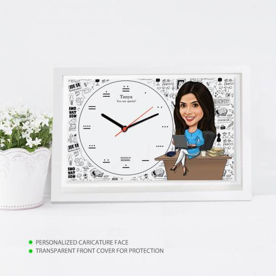 Caricature Wall Clock - Working Lady