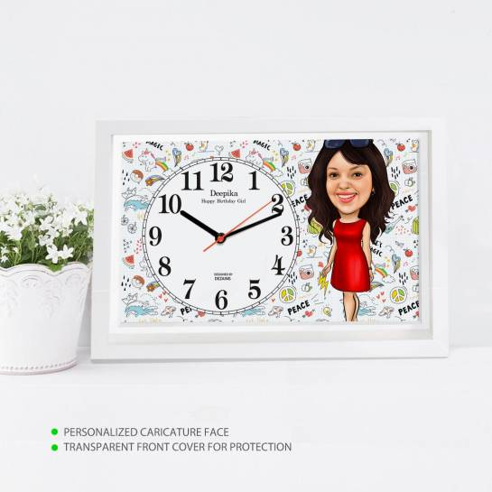 Caricature Wall Clock - Pretty Lady