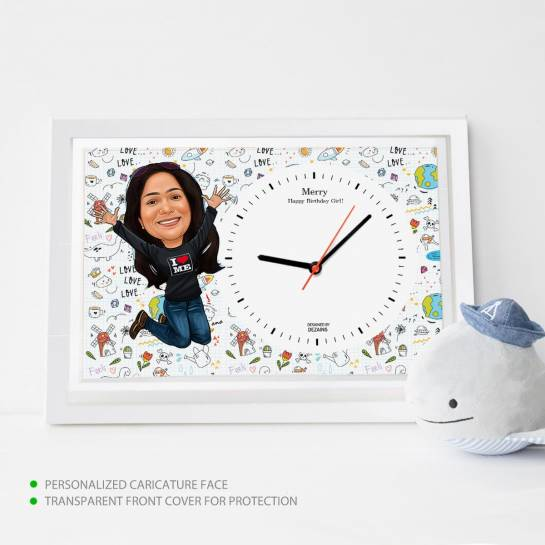 Caricature Wall Clock - Happy Lady