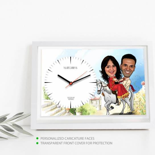Newly Wed Couple on Horse - Caricature Clock