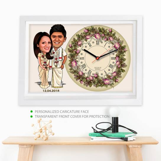 Caricature Wall Clock - Tamil Couple