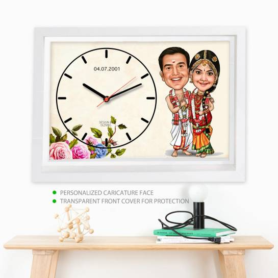 Caricature Wall Clock - Just Married