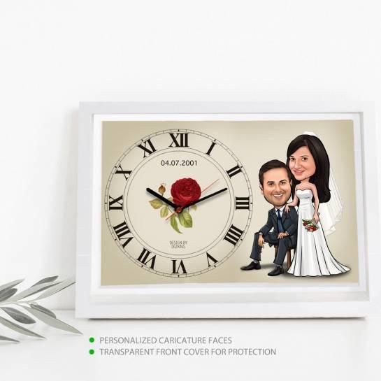 Caricature Wall Clock - Western Wedding
