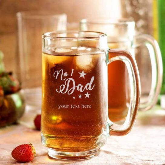 Beer Mug - No 1 dad with custom text