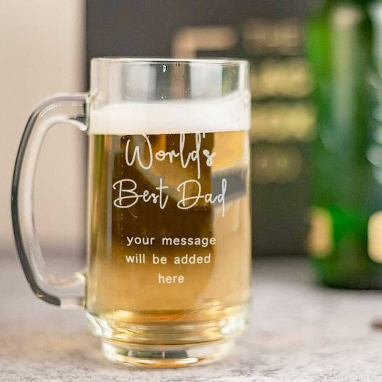 World's Best Dad Beer Mug with Custom Message
