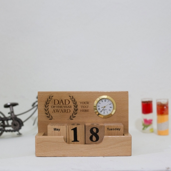 Custom engraved Wooden Office table top with Clock and Calendar