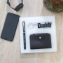 Leather Card holder, Personalised Pen and Daddy keychain Gift Set