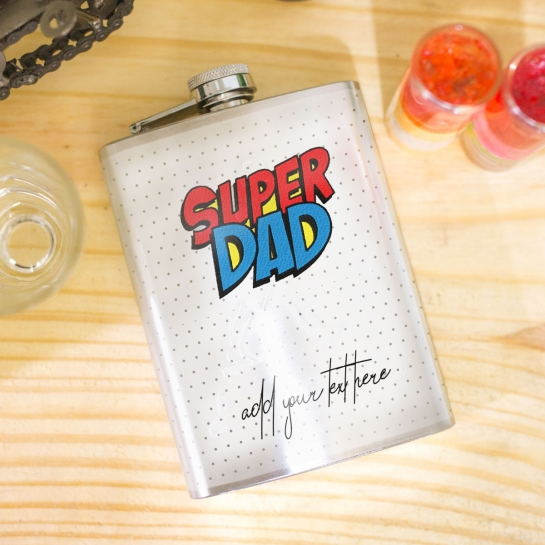 Hip Flask for Super Dad with Custom Message