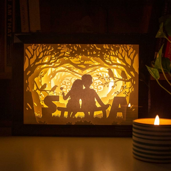 Custom Lightbox - Couple on Bench with Initials