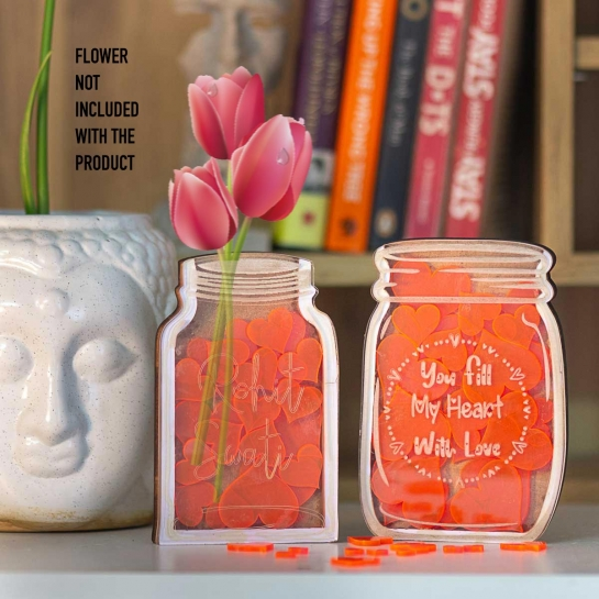 Love Jar x 2 with Heart Cutouts - Customized Engravings