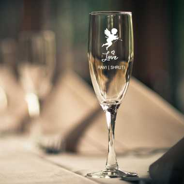 Cupid Engraved Champagne Glass
