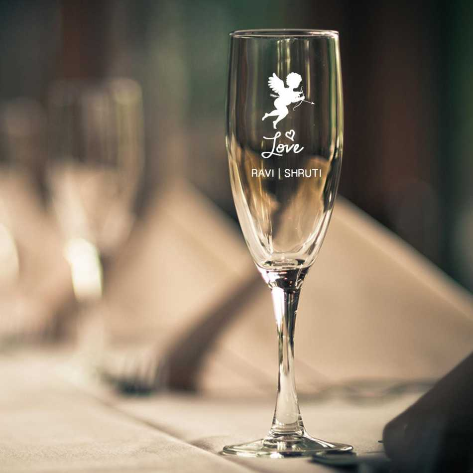 Buy cupid engraved champagne glass online for Buy champagne glasses online