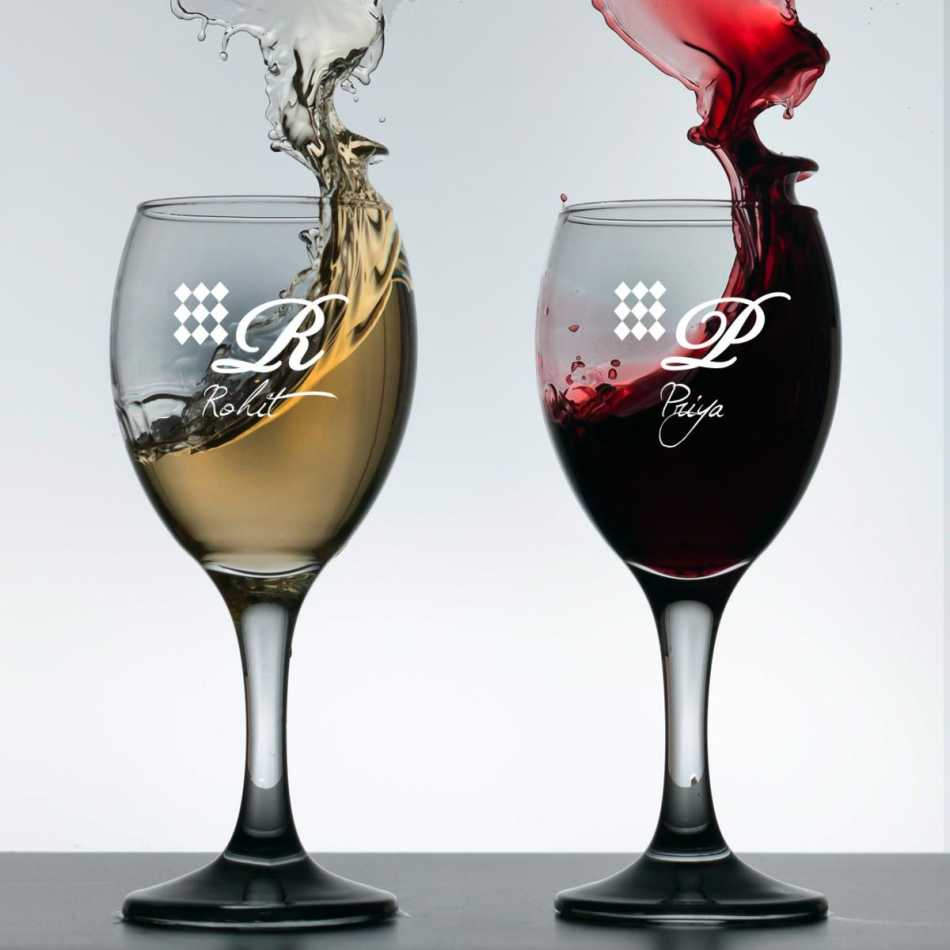 Buy wine glass set with name and initials online for Buy champagne glasses online