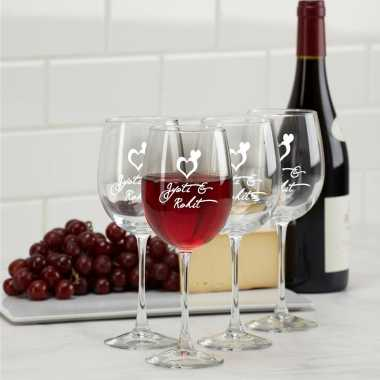 Wine Glasses Engraved heart