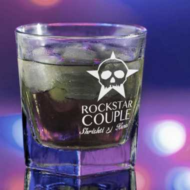 Rockstar Couple Customized Whiskey Glass