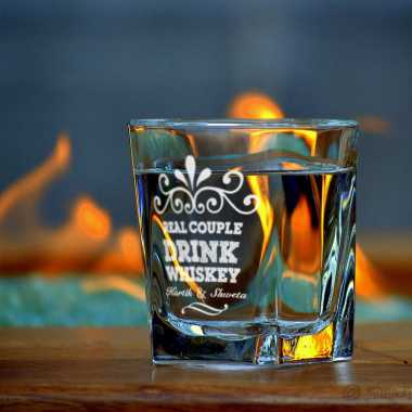 Real Couple Personalized Whiskey Glass
