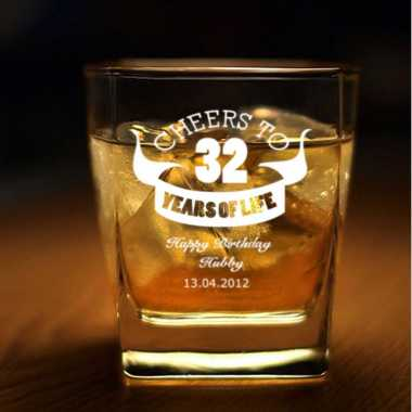 Custom Whiskey Glass for Birthday
