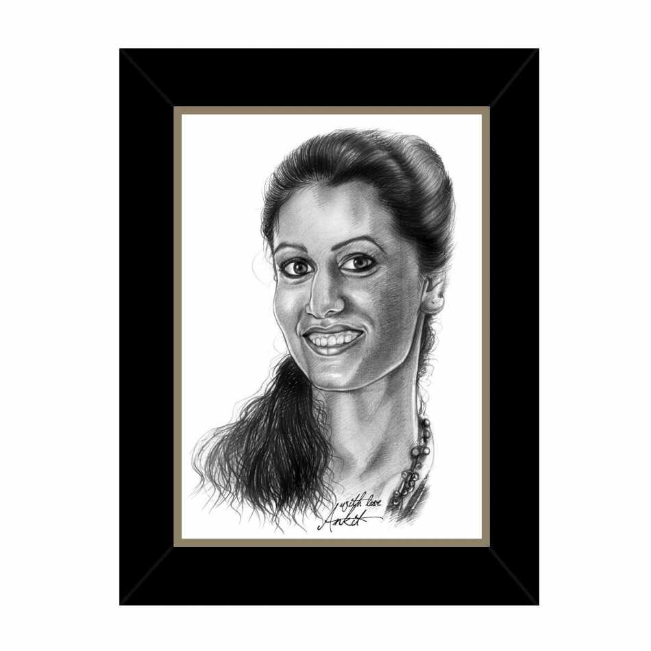 Personalized pencil sketch her frame