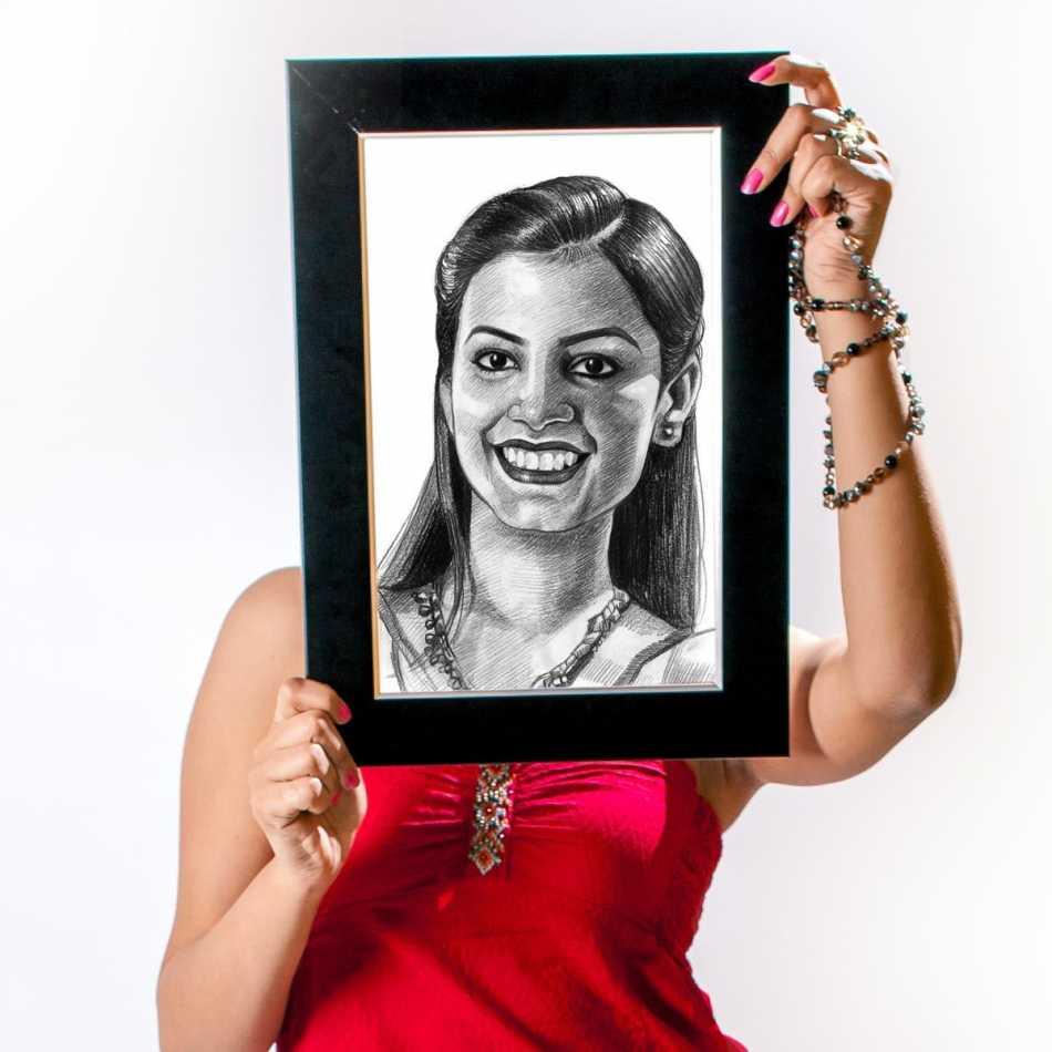 Buy Personalized Pencil Sketch   Her   Frame Online   Dezains.com