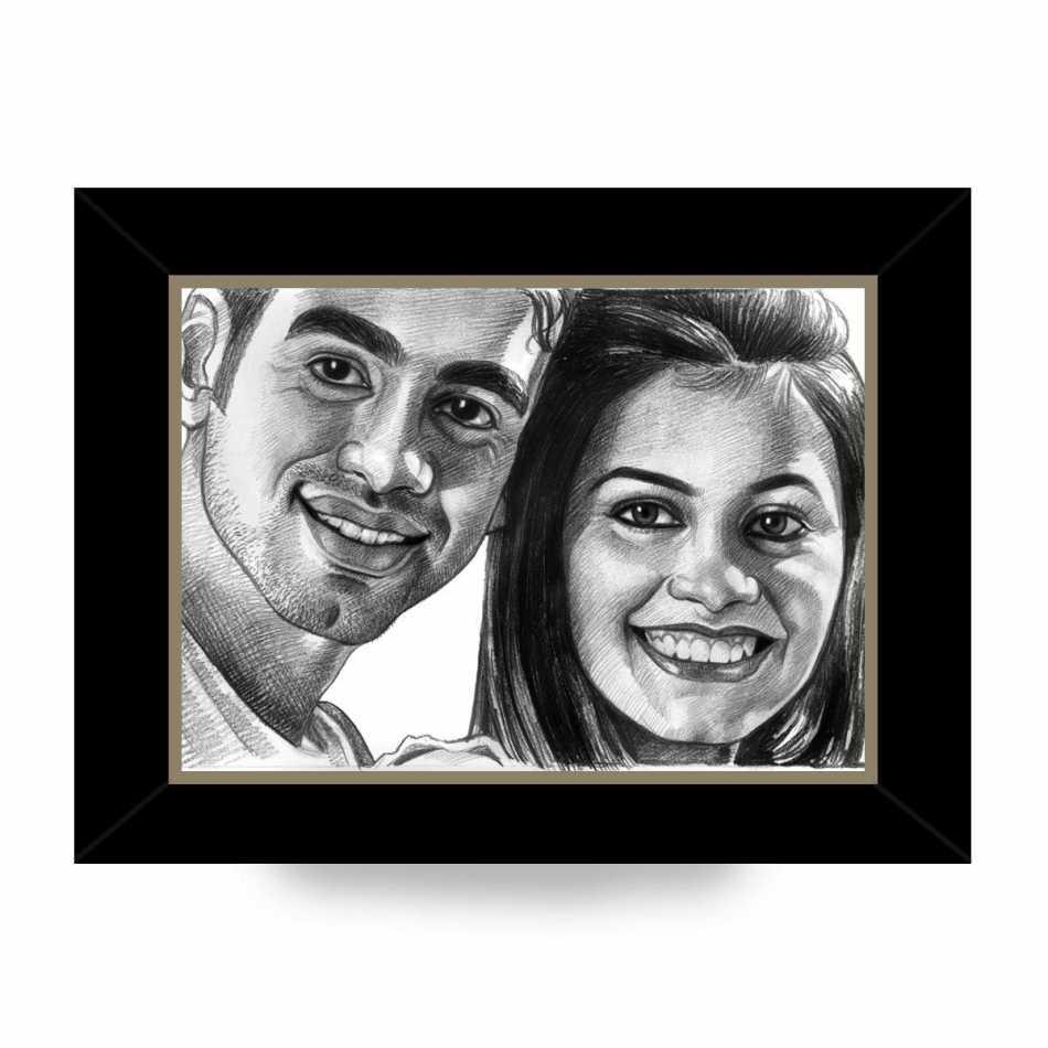 Buy Personalized Pencil Sketch   Couple   Frame Online   Dezains.com
