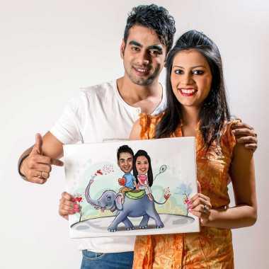 Couple on Elephant - Caricature Canvas