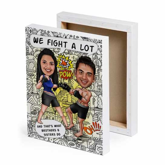 We fight a lot - Caricature Canvas