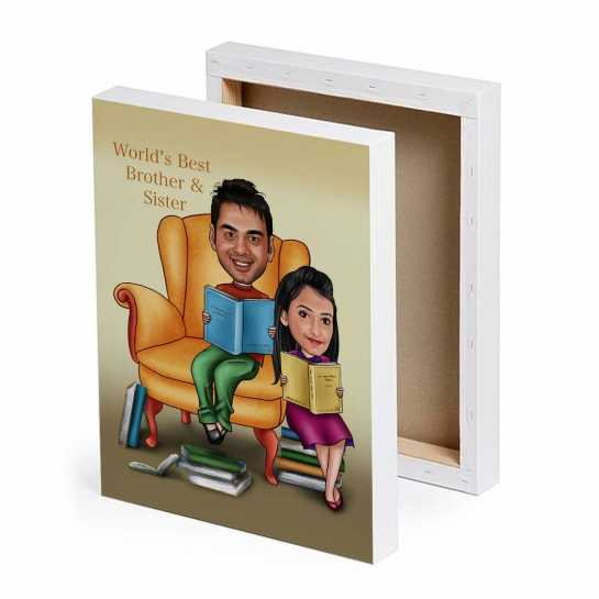 Best Brother-Sister - Caricature Canvas