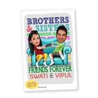 Caricature Magnet for Sibling Friendship