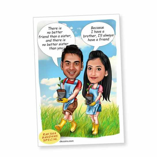 Brother - Sister - Caricature Magnet