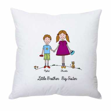 Personalized Cushion for Brother-Sister Duo