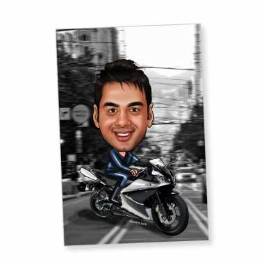 Biker Boy Caricature Magnet