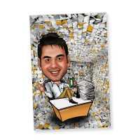 Workaholic Friend Caricature Magnet