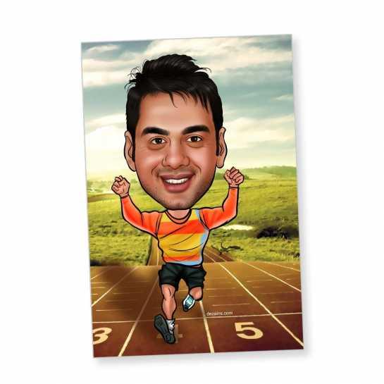 Running - Caricature magnet
