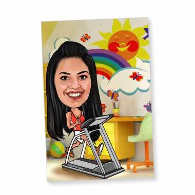 Fitness Freak Caricature Magnet