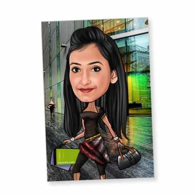 Caricature Magnet for Shopaholic Friend