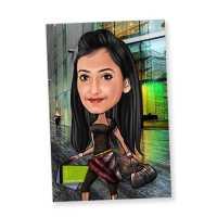 Caricature Magnet for Shopaholic Friend