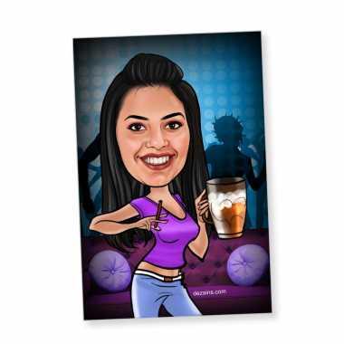 Beer Girl - Caricature magnet