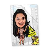Caricature Magnet for Adventurous Girl