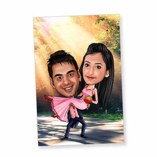 Happy Couple - Caricature magnet