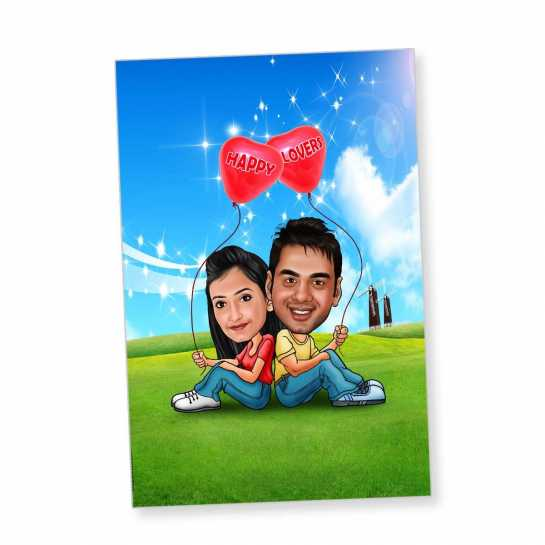 Happy Lovers - Caricature magnet
