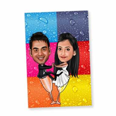 Wine Couple - Caricature magnet