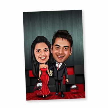 Party Couple - Caricature magnet