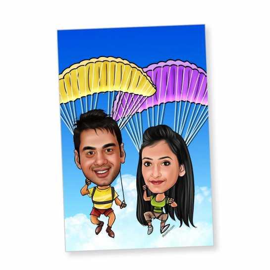 Parachute Couple - Caricature magnet