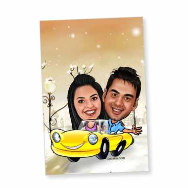 Couple in car - Caricature magnet