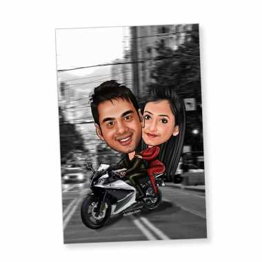 Biker Couple Caricature Magnet