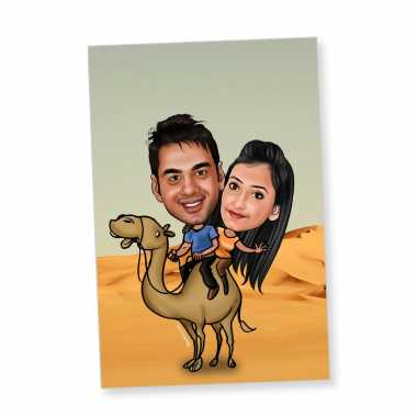 Desert Couple Caricature Magnet