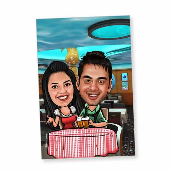 Dinner Date - Caricature magnet