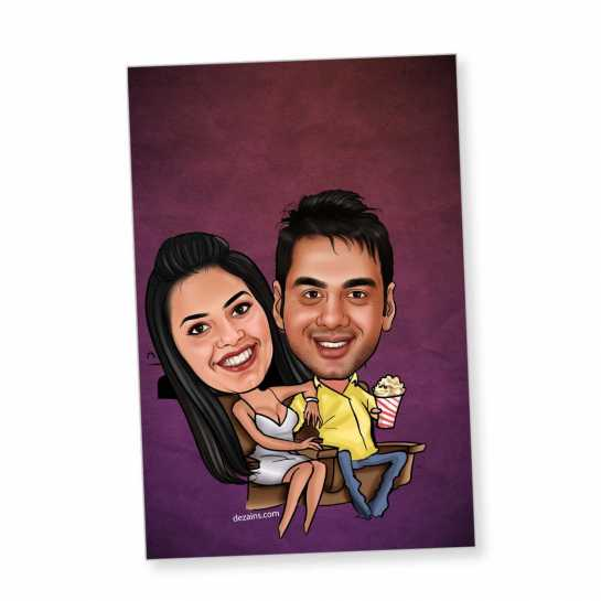 Theater Couple - Caricature magnet